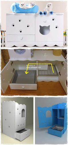 "The litter box is hidden inside a cabinet that seals the odor and provide some privacy to the kitties while doing their business. The idea of separating compartment and mesh is to scrape litter off the cat's claw before they exit the litter box. And the vertical ones works the same way as the horizontal ones except the kitty have to go ""downstairs"" instead of just to the adjacent room."