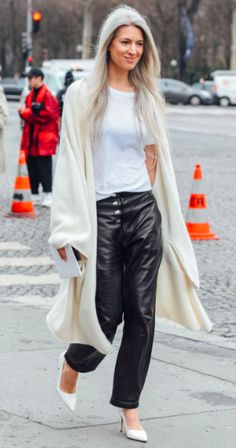 Sarah Harris Street Style. Tommy Ton. Paris Fashion Week. PFW. Leather Trousers.