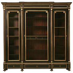 Restored French Ebonized Mahogany Bookcase or Display Cabinet, circa 1900 Classic Furniture, Luxury Furniture, Furniture Design, Furniture Redo, Office Furniture, Vintage Bookcase, Modern Bookcase, Cabinet Furniture, Antique Furniture