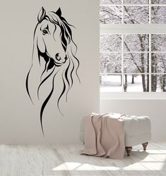Vinyl Wall Decal Horse Head Pet Animal Art Decor Stickers Unique Gift in X in / Gold Metallic Horse Wall Decals, Vinyl Wall Decals, Wall Stickers, Horse Mural, Horse Wall Art, Diy Wall Decor, Art Decor, Wall Painting Decor, Decor Ideas