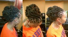 Very lovely and intricate loc updo. Dreadlock Styles, Dreads Styles, Updo Styles, Pelo Natural, Natural Hair Care, Natural Hair Styles, Loc Updo, Hair Updo, Braided Updo