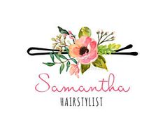 Premade Logo Hairstylist Woman Floral Logo Peonies Makeup Hair Calligraphy Watercolor Floral Make-up Custom Business Card Branding PL305