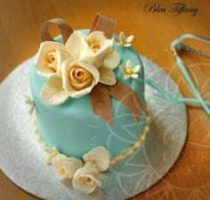 Ivory Rose and Aqua Mini Cake