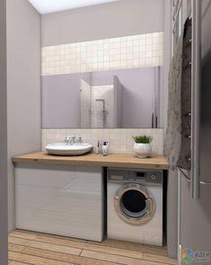 Idée décoration Salle de bain  Интерьер ванной стиральная машина под стол