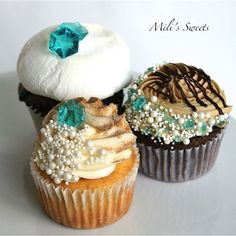 'Tiffany blue' gem and and pearl cupcakes in S'mores, Mocha Chip and Churro by Mili's Sweets
