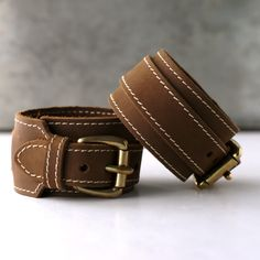 Thin Leather Cuff - Brown