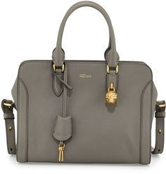 Alexander McQueen small pebbled leather satchel bag with contrast edges. Golden…