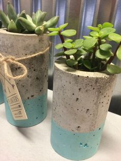 These concrete planters are designed for succulents or air plants. Each one is hand made and hand stained. Includes set of (3) planters. One of each (4,
