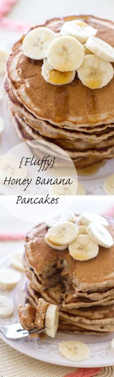 These thick pancakes are light, fluffy, and filled with tons of honey banana flavor! Breakfast of champions.
