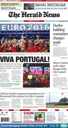 The front page of The Herald News for Monday, July 11, 2016.
