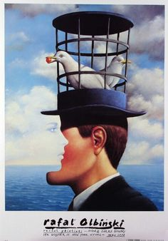 Posters: Rafal Olbinski, Recent Paintings Exhibition Poster. New York, 1992.