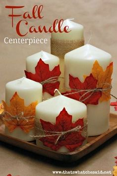 Create an easy fall candle centerpiece for next to nothing! Great for your mantle or Thanksgiving day table! Candles, a charger and some leaves! Fall Candle Centerpieces, Thanksgiving Centerpieces, Fall Candles, Candle Arrangements, Cheap Thanksgiving Decorations, Wedding Centerpieces, Fall Lanterns, White Candles, Fall Centerpiece Ideas