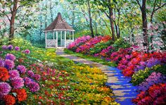 Alley of flowers  Large Oil Painting On Canvas By by spirosart