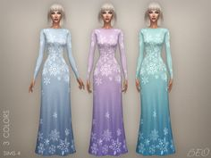 Snowflake - long dress for The Sims 4 by BEO