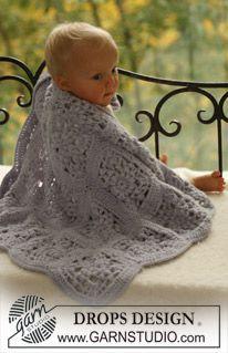 """DROPS crochet blanket in 2 threads """"Alpaca"""". ~ DROPS Design"""
