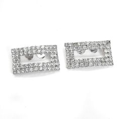 """Vintage shoe clips with prong-set rhinestones in silver plating - rectangular shape. Maker: Unbrsnded Material: glass Approximate Size: 2"""" x 1"""" Condition: very good pre-owned condition. Your purchase will be shipped in an attractive jewelry gift box."""