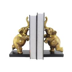 Elegant Polyresin Elephant Bookends, Gold, Set Of 2 -SageBrook Home Gold Set, Memorable Gifts, Home Decor Outlet, Joss And Main, Decorative Accessories, Bookends, Wall Decor, Make It Yourself, Contemporary