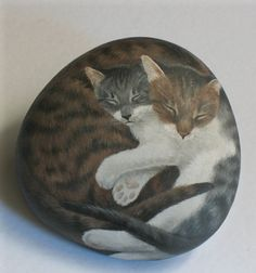 Cat StonesTwo Cats CuddleHand Painted Rock by MysticMeadowStudio, $75.00