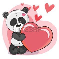 Panda linda de la historieta con el coraz n en un fondo del coraz n Foto de archivo