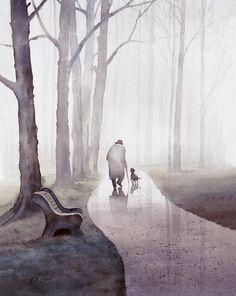 Walk In The Park Art print of watercolor painting by Master Artist T. Chiu Old man and dog Trees Park Bench Art Aquarelle, Art Watercolor, Watercolor Landscape, Art Et Illustration, Illustrations, Park Art, Chiaroscuro, Art Design, Modern Design