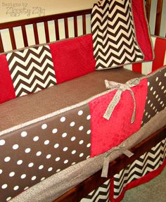 LOVE THIS!!  Baby Bedding Red Brown Sock Monkey by Ziggetyzag on Etsy, $299.00substitu  Al-substitute the Redford teal?