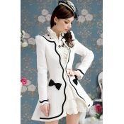 $27.99 New Style Elegant Long Sleeve White Long Coat