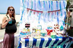 "Cute pregnant Mom. 9 months pregnant. Beach shower, beach wedding shower, beach themed dessert table. ""Beach Baby"" Shower. Vintage beach. Cake pops, sand cupcakes, ombre wave cake"