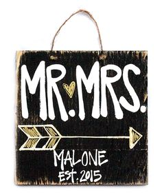 Look at this #zulilyfind! Arrow 'Mr. & Mrs.' Personalized Wall Sign by Southern with Grace #zulilyfinds