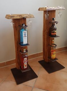 Wine stand and whiskey stand made of old wooden beams - Wohnaccessoires Used Bedroom Furniture, Wine Stand, Big Bedrooms, Diy Bar, World Of Interiors, Wood Beams, Old Wood, Wine Cellar, Whisky