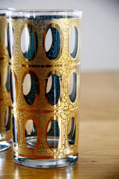 Mid Century Glasses Barware Gold and Teal... this is a bit like my glass lamp shade should look... wonder who can recreate this for me?!?