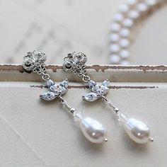 Art Deco Earrings Vintage Style Pearl Earrings Bridal