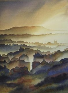 Ian Scott Massie, Masham artist. View of Askrigg in Wensleydale. #fineart #yorkshire