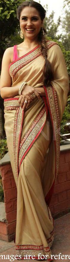 USD 45.55 Lara Dutta Brown Party Wear Saree  34786