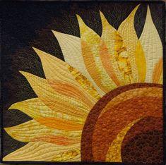 Olena Pugachova showed us a stunning sunflower quilt. Sunflower Quilts, Sunflower Art, Fleurs Diy, Summer Quilts, Quilt Modernen, Landscape Quilts, Landscape Design, Quilt Patterns Free, Mini Quilts