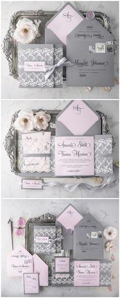 Pink and grey lace wedding invitations #rusticwedding #wedding #invitations #weddingcards / http://www.deerpearlflowers.com/wedding-invitations-from-4lovepolkadots/