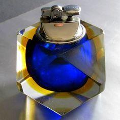 Encendedor De Mesa Cristal De Murano, Poliedro Tres Colores