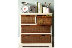 Onion & Potato Storage ~ Add baskets to open shelving in kitchen>>remove drawer fronts, wooden mesh and wooden handle