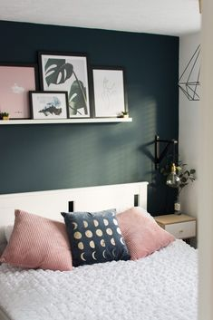 Take a look at my bedroom transformation, featuring a Farrow & Ball Hague Blue feature wall and blush accents. Green Bedroom Walls, Green Master Bedroom, Accent Wall Bedroom, Small Room Bedroom, Room Ideas Bedroom, Home Decor Bedroom, Small Rooms, Couple Bedroom, Wall Colors For Bedroom