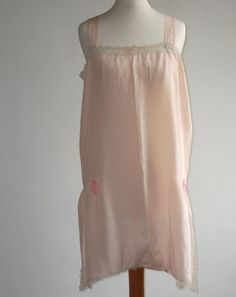 b4bb4ff501f 1920 s 1930 s Pink Silk Camiknickers Step-in Chemise Teddy Lace Trim and  Bows Vintage Lingerie