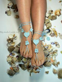 Ocean Blue Crochet Barefoot Sandals, Foot jewelry, Wedding, Crochet Beaded Sandles, Irish Lace, GIFT WRAPPED