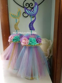 Mermaid Centerpiece/Mermaid Baby Shower Centerpiece/Mermaid Theme Centerpiece/Mermaid Birthday Centerpiece/Purple and Turquoise Centerpiece Diy Baby Shower Decorations, Baby Shower Themes, Shower Ideas, Birthday Centerpieces, Birthday Party Decorations, Diy Centerpieces, Turquoise Centerpieces, Little Mermaid Baby, Mermaid Theme Birthday