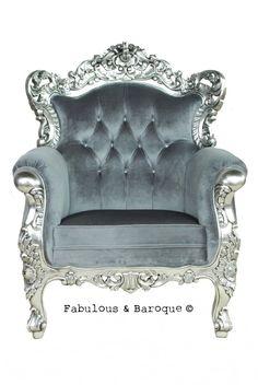 Belle de Fleur Chair - Silver & Grey