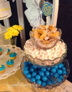 www.facebook.com/ByInvitationOnlyDesigns 9th birthday party Turquoise, yellow and white theme sweets table Crystal candy dishes by @Southern Charm Vintage Rentals