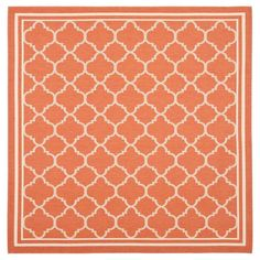 "Renee 7'10"" X 7'10"" Outdoor Rug - Terracotta / Bone - Safavieh, Terracotta/Ivory"