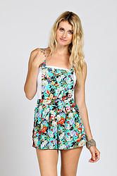 FLORAL PRINT OPEN BACK OVERALL ROMPERS