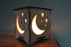 Moon and Stars Nightlight Laser Cut Lamp by LaserKeepsakes on Etsy Laser Cut Lamps, Laser Cut Wood, Star Night Light, Bedside Table Lamps, Desk Lamp, Light Crafts, Wood Lamps, Candelabra Bulbs, Metal Wall Decor