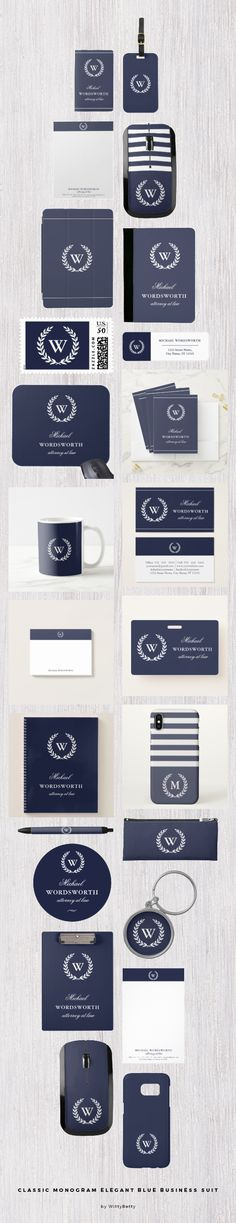 Classic Monogram Elegant Blue Business Suit by WittyBetty (affiliate link) - Classic white laurel wreath monogram on dark blue. Elegant and impressive and matches many styles and colors of men's fashion. #business #office #blueandwhite #darkblue #monogrammed #personalized #stationery #officeessentials #accessories #accessory #wirelessmouse #phonecases #iphonecase #samsunggalaxycase #ipadcover #businesscard #pen #pencilcase #stickers #postitnotes #notebook #mug #keychain #zazzle