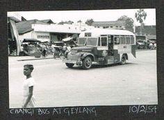 Changi Bus at Geylang - 1954. Source: eBay