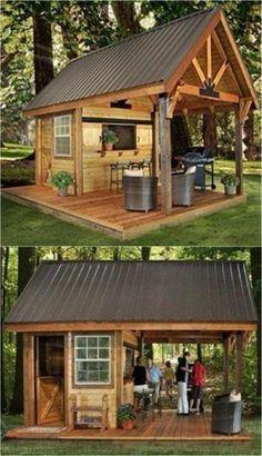 39 incredible backyard storage shed design and decor ideas 16 - All For Garden Backyard Bar, Backyard Patio Designs, Backyard Projects, Patio Bar, Diy Patio, Backyard Decorations, Backyard Ideas, Backyard Cabana, Outdoor Projects