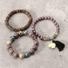 Cute 3 Pcs/set Bohemian Multilayer Beads Bracelet Wood Elastic Bracelet with Tassel Pendant Gift for Her - NewChic Mobile